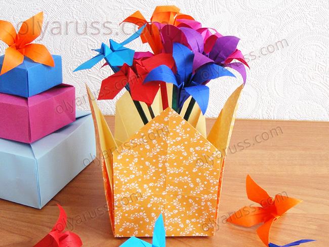 Коробочка и Ваза из бумаги в технике оригами