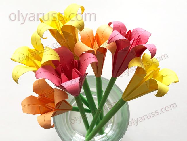 Цветы Ирисы оригами и Стебельки из бумаги
