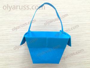 Корзинка с ручкой из бумаги | Корзинка оригами