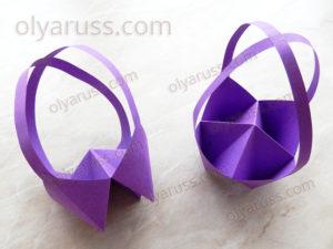 Корзинка оригами | Как сделать Корзинку с ручками из бумаги