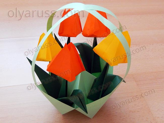 Корзинка с ручками в технике оригами