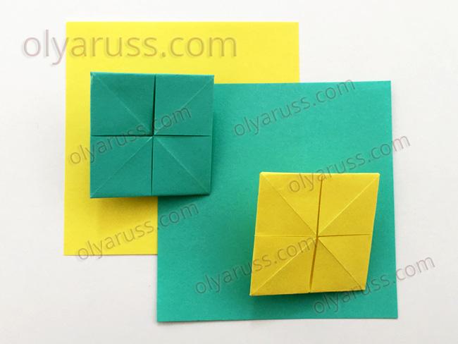 Наложение базовых форм в оригами