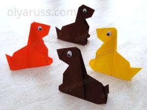 Собачка оригами | Как сделать Собаку из бумаги