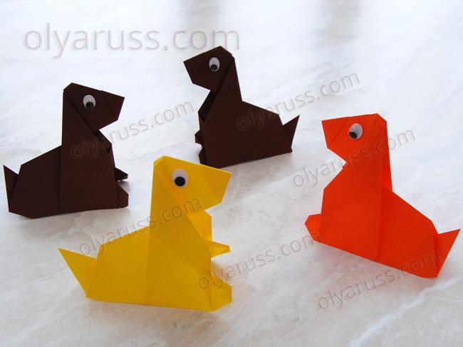 Собачка оригами из бумаги