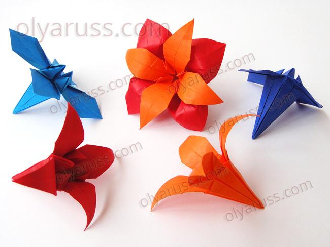 Цветы из бумаги - Ирис или Лилия оригами