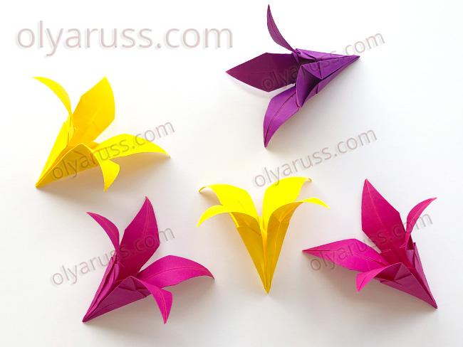 Цветок из бумаги - Ирис или Лилия оригами
