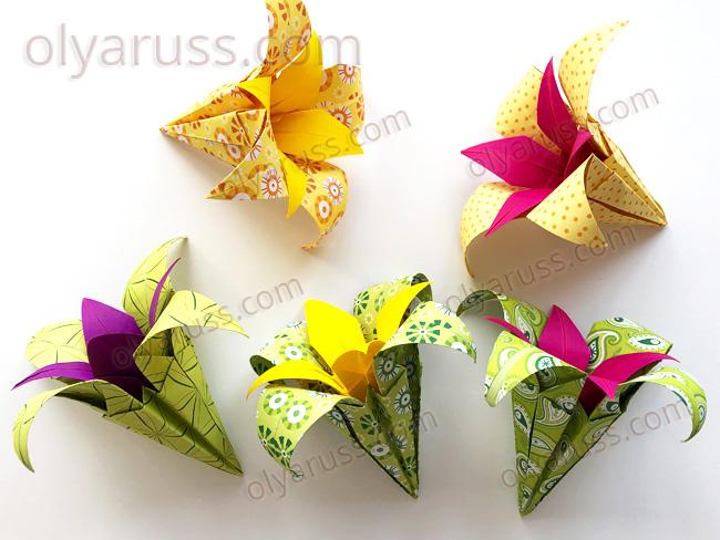 Пышный цветок оригами Ирис