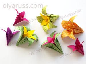 Оригами Ирисы | Цветок в цветке