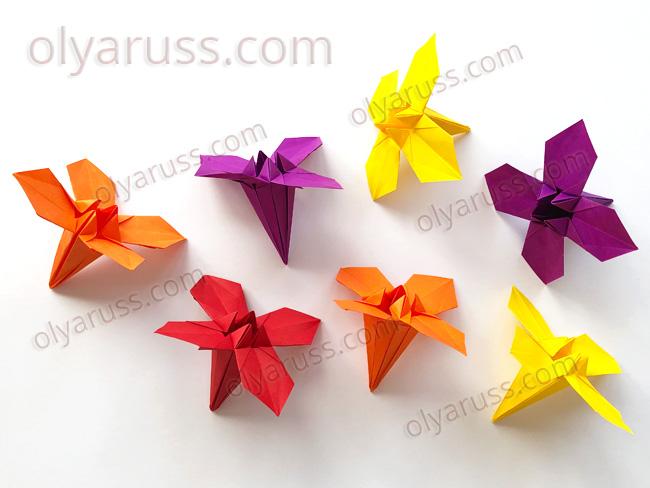 Цветок оригами Ирис с новой формой лепестков