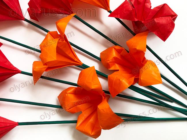 Лилия оригами цветы из бумаги