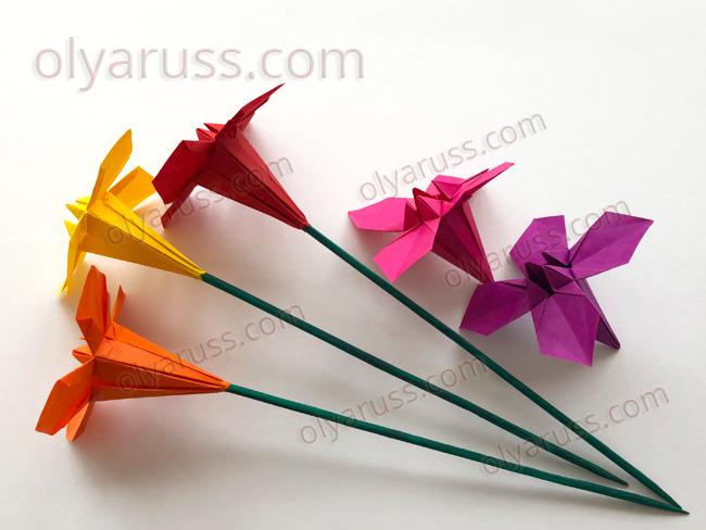 Цветы оригами на стебельках из бамбуковых палочек