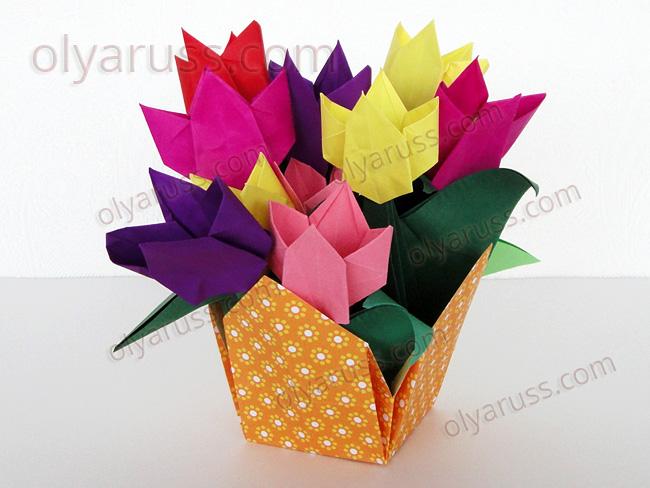 Тюльпан оригами - прекрасные Цветы из бумаги