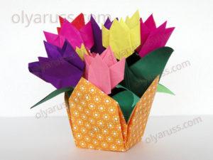 Тюльпаны оригами | Прекрасные Цветы из бумаги
