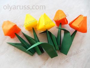 Тюльпан из бумаги | Как сделать Тюльпаны оригами