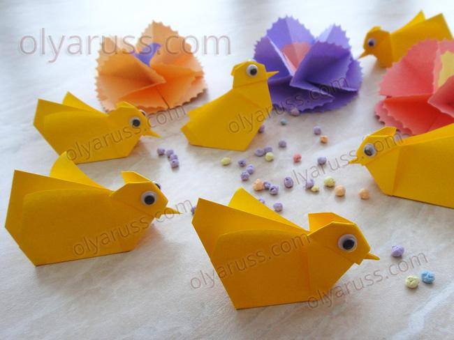 Цыпленок оригами - поделка из бумаги своими руками