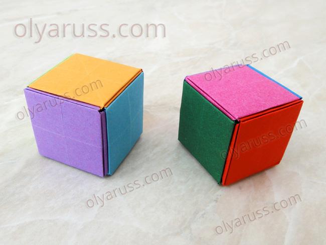 Кубик из бумаги из модулей оригами