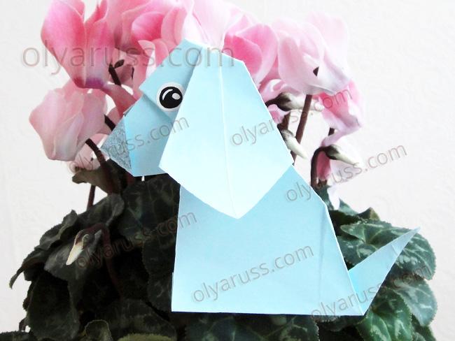 Собачка оригами из бумаги - Песик кивает головой