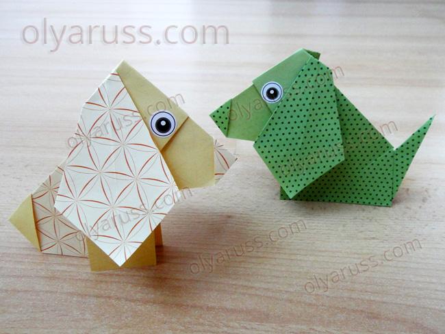 Собачка оригами из бумаги - умный песик