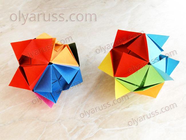 Кусудама оригами из 6 модулей